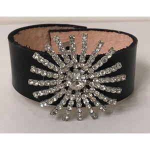 VTG Repurposed Rhinestone Crystal Leather Bracelet